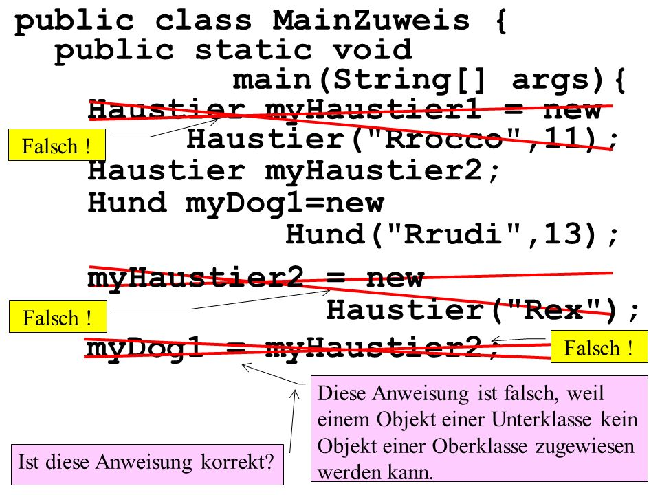 public class MainZuweis { public static void main(String[] args){